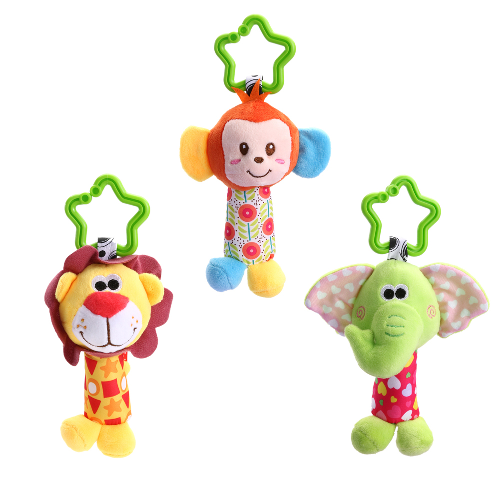 Newborn Baby Infant Cute Animal Handbells Baby Rattle Developmental Bed Bells Toys Crib Stroller Bed Hanging Plush Stuffed Toy cute animal baby infant rattles toy baby bed stroller hanging cartoon animal rattle handbells toys for infant kids