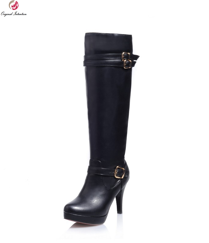 Original Intention Women Knee-High Boots Nice Platform Round Toe Thin Heels Boots Black Beige Brown Shoes Woman US Size 4-10.5 enmayer high heels charms shoes woman classic black shoes round toe platform zippers knee high boots for women motorcycle boots