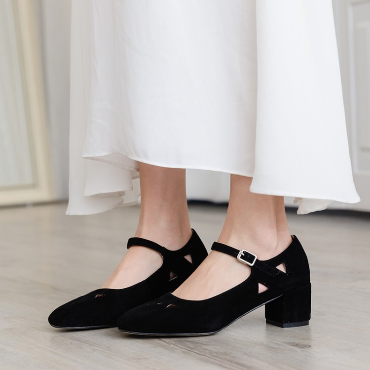 Big Size 9 10  Ladies High Heels Women Shoes Woman Pumps Marijanes hollowed-out buckled heavy-heeled single shoesBig Size 9 10  Ladies High Heels Women Shoes Woman Pumps Marijanes hollowed-out buckled heavy-heeled single shoes