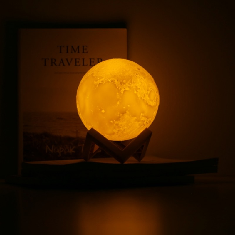 2 Color Rechargeable 3D Print Moon Lamp Change Touch Switch Bedroom Bookcase Light Home Decor Creative Gift