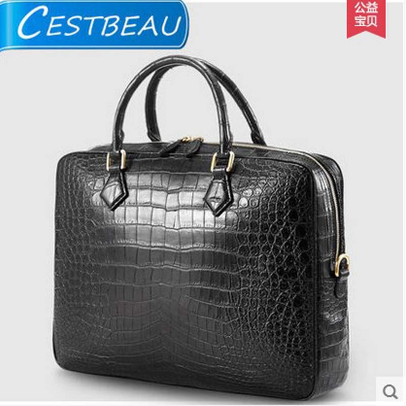 2018 cestbeau crocodile belly man handbag without splicing whole skin crocodile man's leather business briefcase men bag men without women