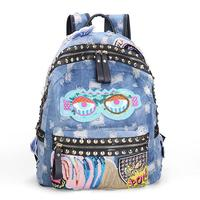 Bling bling sequins embroidery sexy lips fashion personality casual denim backpack eyes shoulder bag