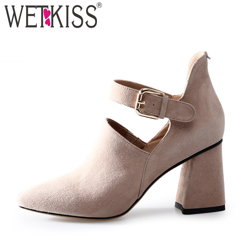 WETKISS New High Heels Women Pumps 2018 Brand Spring Fashion Ladies Shoes Ankle Strap Pointed Toe Hoof Heels Buckle Footwear wetkiss 2018 big size 33 48 high heels women pumps thin heels pointed toe bling footwear spring fashion sexy court ladies shoes