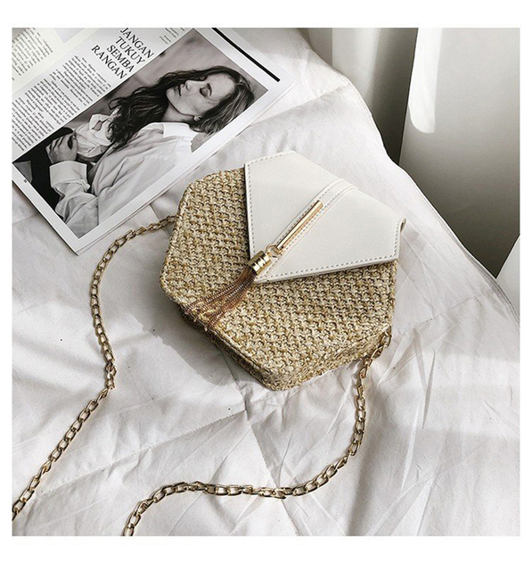 MVK Hexagon Straw Bags Tote...