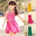 Дети жилет платье симпатичные пляжные платья дети прекрасный конфеты цвет рукавов платье принцессы