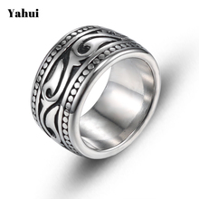 YaHui stainless steel vintage rings for men punk steel ring Totem stainless steel index finger domineering ring fashion jewelry цена