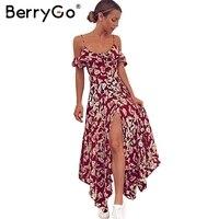 BerryGo Sexy Cold Shoulder Ruffle Long Dress Women Split Floral Print Maxi Dress Elegant V Neck
