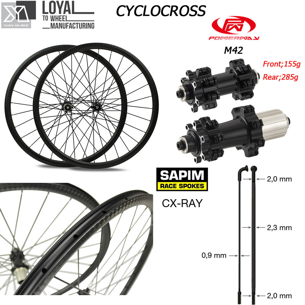цена на Taiwan Powerway CT31 Disc Brake Center Lock 700c Gravel Bike Wheel Carbon Cyclocross Wheelset Sapim CX Ray Spoke