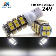 цена на 20/100pcs 24V White T10 1210 28 SMD Led Bulbs Car Door Side Marker Lights Clearance Lights 194 927 161 168 W5W Free Shipping