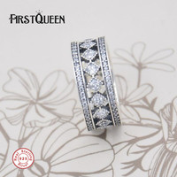 FirstQueen 925 Sterling Silver Vintage Fascination Clear CZ Ring Anillos De Plata 925 Rings For Women
