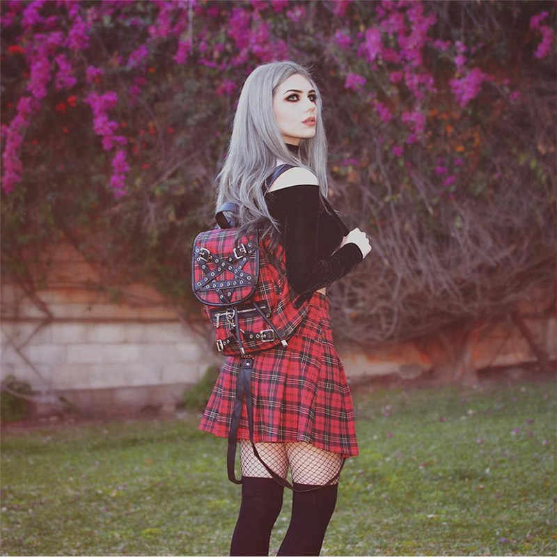 c3879dafd9 ... Harajuku Gothic Rock Punk Vintage Plaid Checked Skirt Women High Waist  cool Girl Short Skirt Patched ...