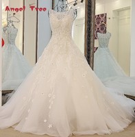 Vestidos De Novia Beaded Crystal Wedding Dresses See Through Wedding Gown Bridal Dresses Long Tail Robe