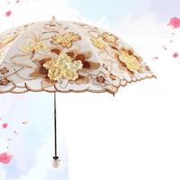 Wholesale Embroidered Lace Double Layer Black Glue Anti Ultraviolet Folding Sunshade Umbrella Sunumbrella Adults For Women