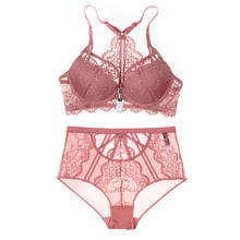 151bdf4d06fb Sexy Lace Bra+set Together Push Up Front Closure Soft Cup Lacy Trim Woman  Underwear