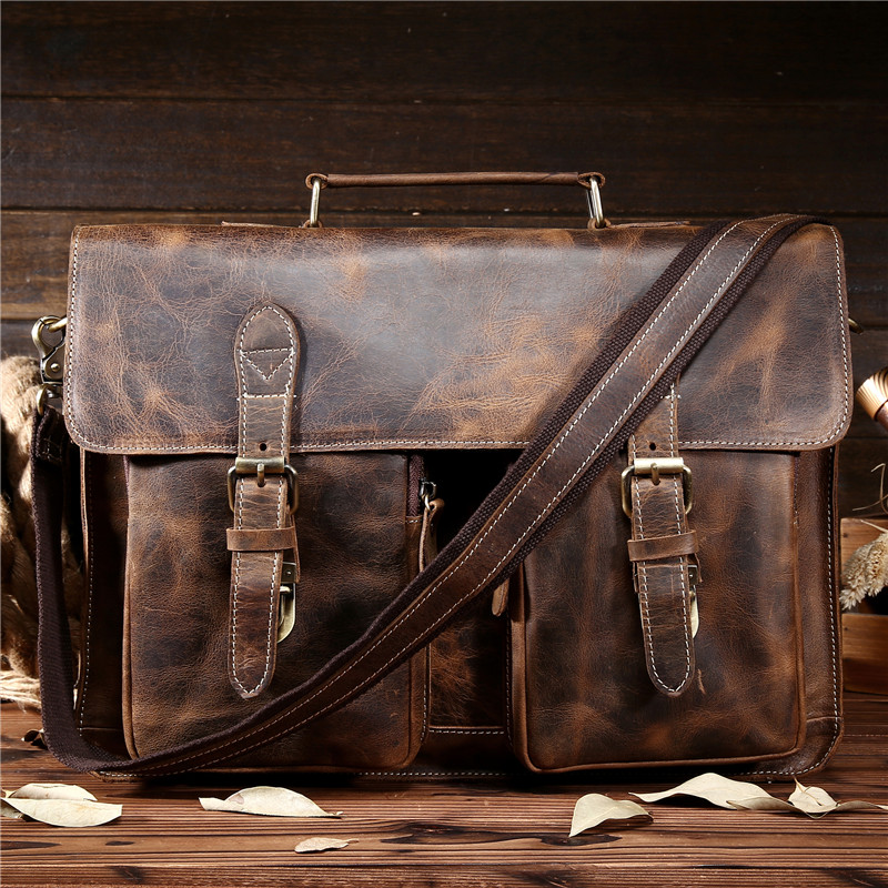 NEWEEKEND Retro Cowhide Leather Crazy Horse 14/15.6 Inch Crossbody Handbag Laptop Briefcase Bag for Male Man Men Portfolio 1061 neweekend 1005 vintage genuine leather crazy horse large 4 pockets camera crossbody briefcase handbag laptop ipad bag for man