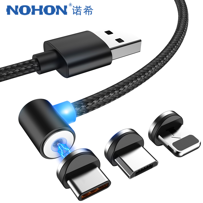 NOHON Elbow Strong Magnetic 2.1A Charger Cable Lighting For iPhone X Micro USB Type C Samsung S8 S9 Magnet Charge Cord Line