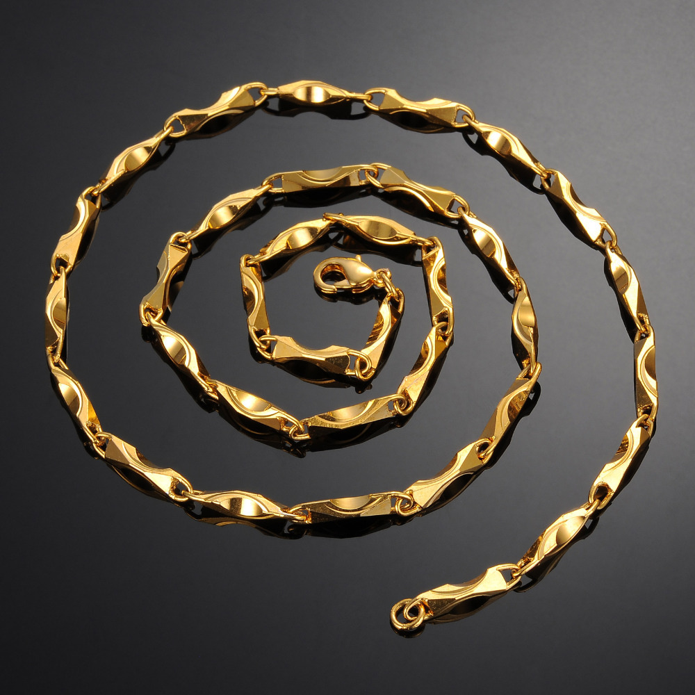 Punk Gold GP Plated 23inch rolo links gold long chain special ...