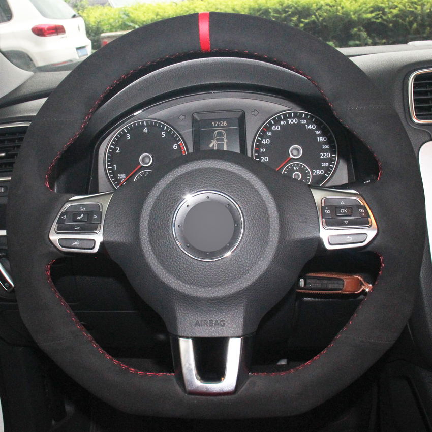 Prix pour XuJi Noir Daim BRICOLAGE cousu Main Couverture De Volant de Voiture pour Volkswagen Golf 6 GTI MK6 VW Polo GTI Scirocco R Passat CC R-Lin