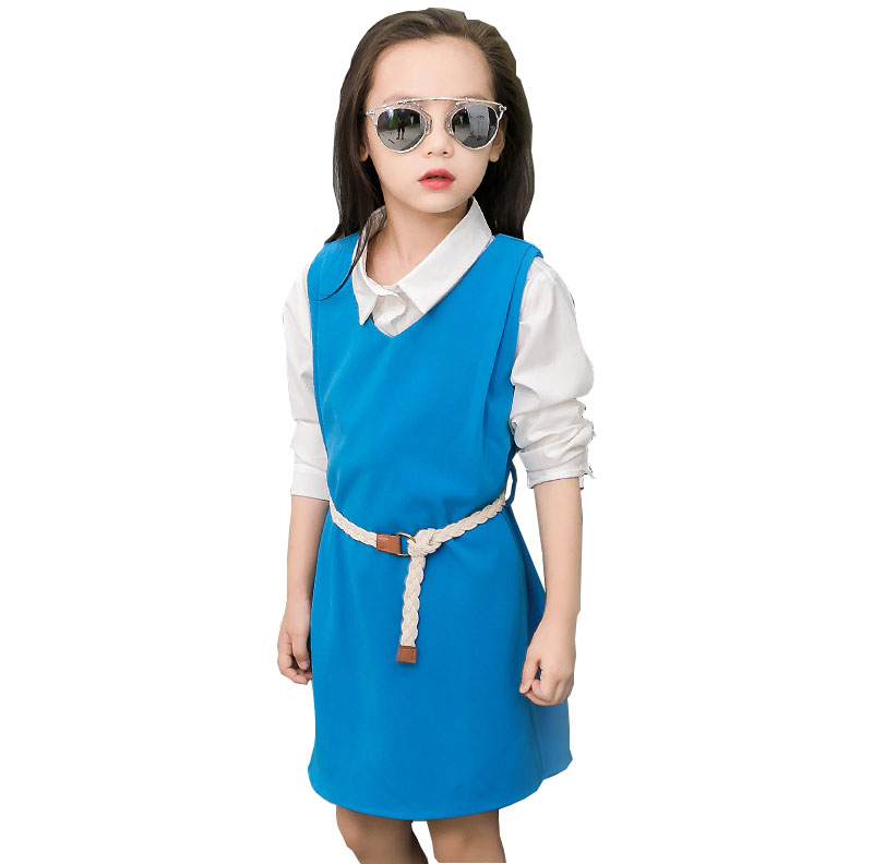 Girls long-sleeved dress+shirt two-piece suit Autumn 2018 new children baby girl clothes 4-14 years old