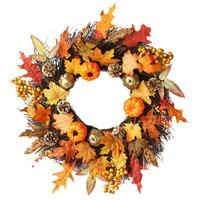 Halloween Decoration 60cm Rattan Berry Maple Leaf Fall Door Pumpkin Wreath Door Wall Ornament Christmas Halloween 5O0906