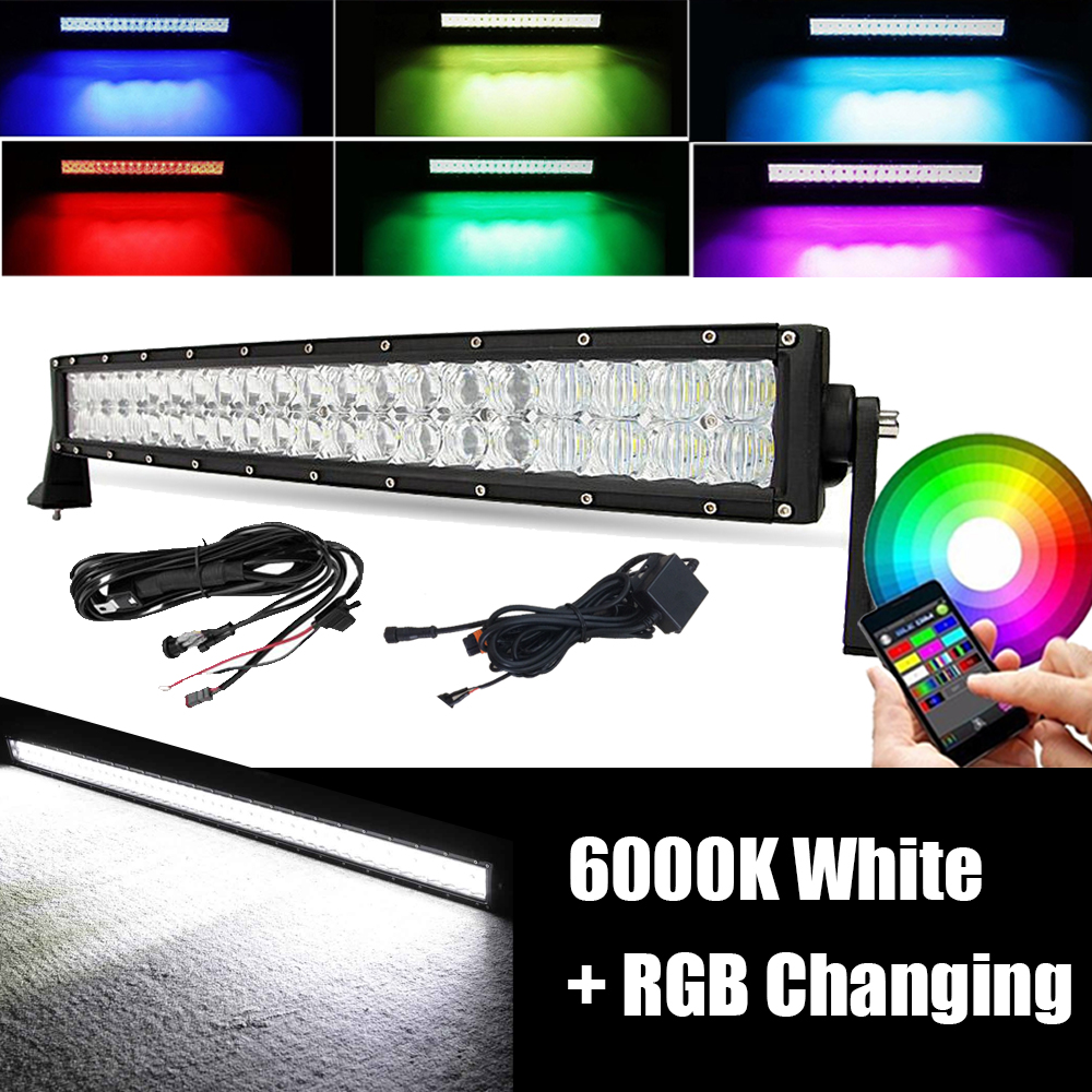 22INCH 120W 5D LED Work Light Bar Spot Flood Combo RGB MutiColor Change Bluetooth Fit For ATV SUV TRUCK JEEP BOAT 4X4 UTE PICKUP image