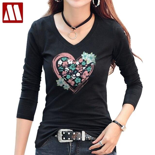1e547da04f00 New Arrivals Women Casual Floral T-Shirt Fashion Heart Design Flower  Printed t shirt Ladies Cotton Long Sleeve V Neck tee shirts