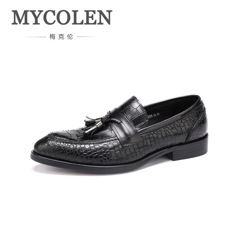MYCOLEN Mens Genuine Wine Red Leather Shoes Black Men Party Dress Shoe Business Stone Skin Leather Shoes Mocassim Masculino mycolen mens casual genuine leather flats loafers for men comfortable business wine red black crocodile print man leather shoes