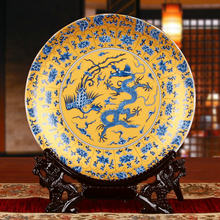Fengshui arte real placa cerámica Ornamental dragones placa decoración placa madera Base pollo porcelana placa Set regalo de boda(China)
