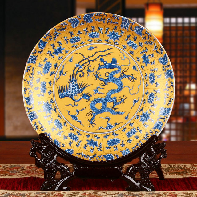 Fengshui Royal Art Ceramic Ornamental Plate Dragons Plate Decoration Plate Wood Base Chicken Porcelain Plate Set & Fengshui Royal Art Ceramic Ornamental Plate Dragons Plate Decoration ...