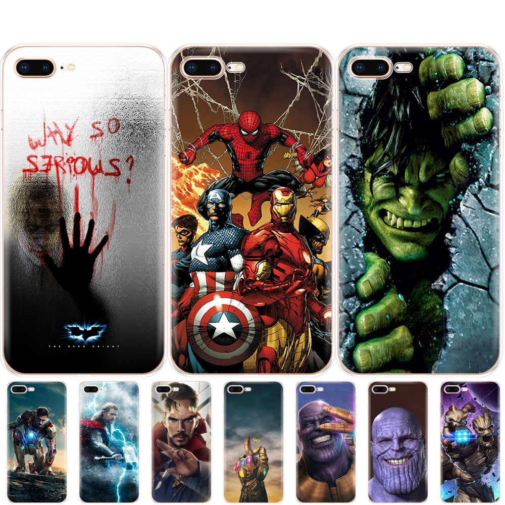 Étui pour iphone 5 s SE 4 4 s 6 s 6 7 8 plus étui pour iphone X XS XR XS MAX étui Marvel Avengers super-héros capitaine ironman thanos