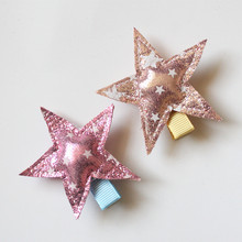 2019 New Printing Kid Hair Clip Cute Star Girl Party Grips Rose Gold Printed Barrette Pink 3.5CM Resale