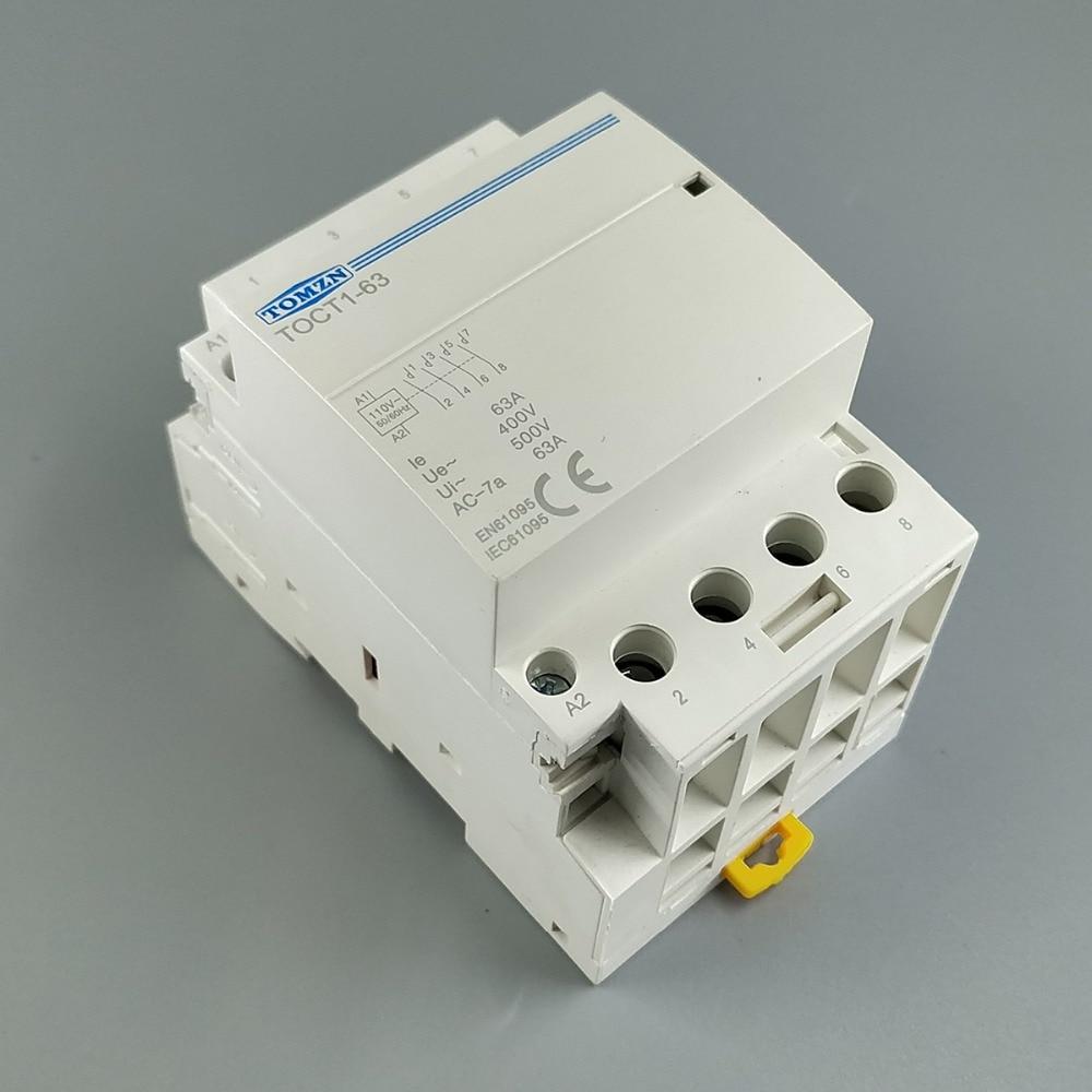 TOCT1 4P 63A 110V COIL 400V~ 50/60HZ Din rail Household ac Modular contactor 4NO or 2NO 2NC Contactors toct1 4p 63a 230v ac dc coil 50 60hz din rail household ac modular contactor