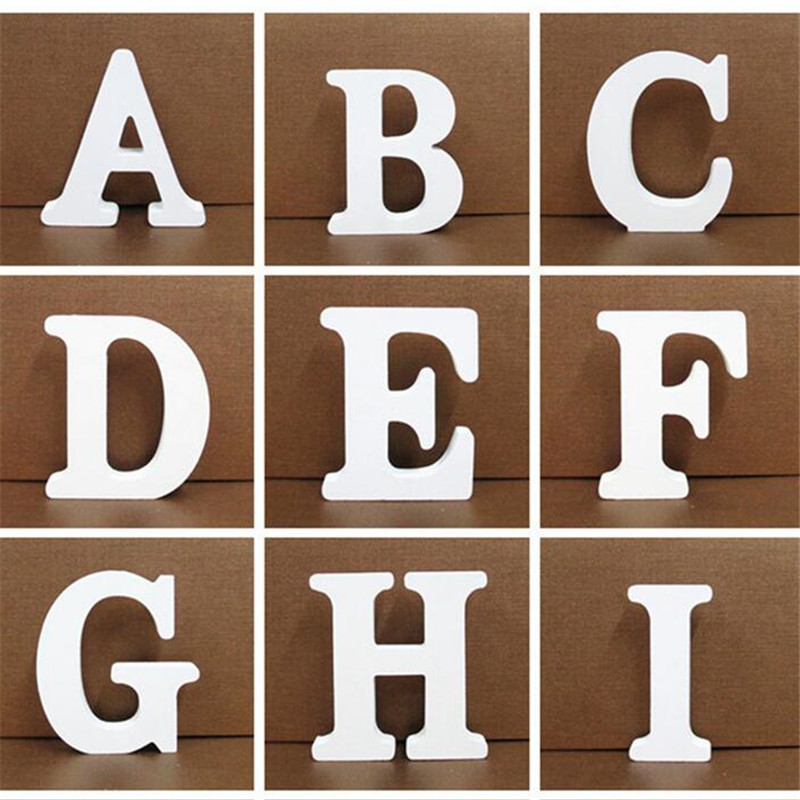 1pc 10CMX10CM White Wooden Letter English Alphabet DIY Personalised Name Design Art Craft Free Standing Heart Wedding Home Decor(China)
