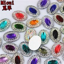 Micui 60 pçs dupla cor resina 10*14mm oval gem flatback bling strass ornamentos diy scrapbook casamento apliques artesanato mc283