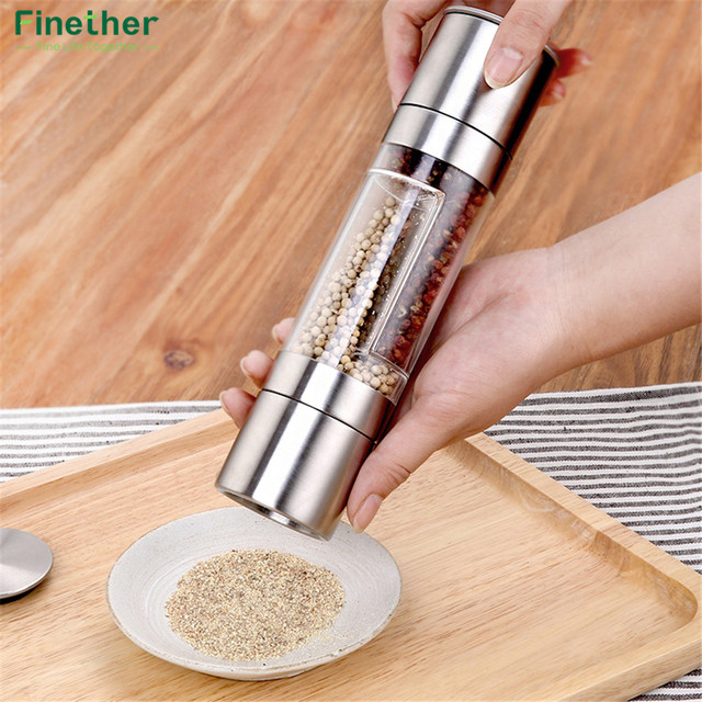 Finether Pepper Grinder 2 in 1 Stainless Steel Manual Salt & Pepper Mill Grinder Spice Kitchen Tools Accessories for Cooking