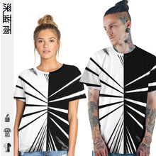 Amoy 3d Code Number Printing Stripe Tiger Human Skeleton Rendering Unlined Upper Garment Short Sleeve Woman Easy Lovers Short T amoy aids source
