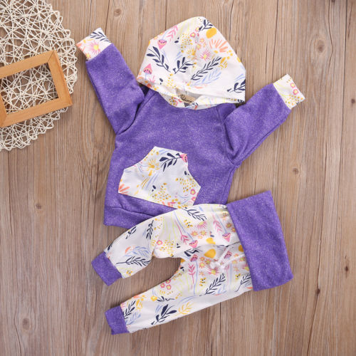 2pcs Newborn Infant Baby Girls Clothes Hooded Coat Tops+Floral Pants Outfits Set