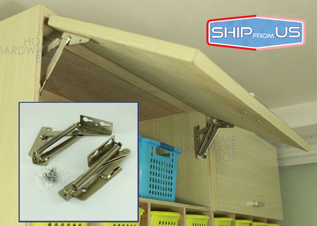 spring loaded hinge cabinet door lift up flap top support kitchen