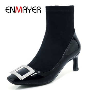 ENMAYER  Square Toe  Thin Heels  Genuine Leather  Ankle Boots for Women  Booties 2020 Woman Size 34-39 ZYL1846