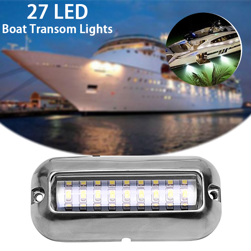 US $2 58 18% OFF 3 5inch 27 LED Marine Stainless Steel Under Water Pontoon  Waterproof Boat Transom Light 12V led-in Marine Hardware from Automobiles &