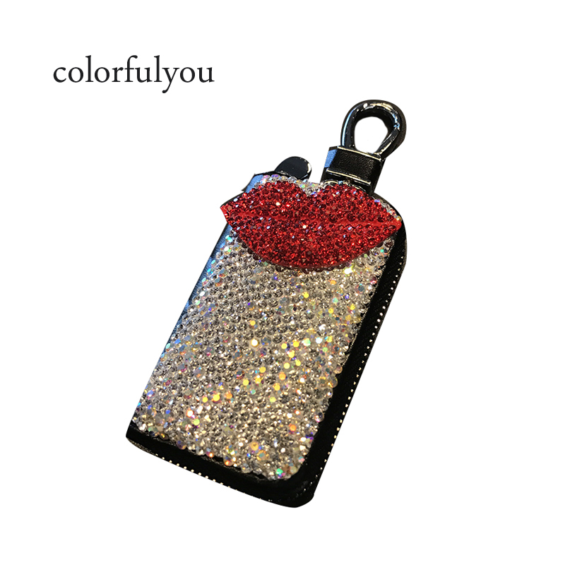 Shining Rhinestone Lip Print Female Car Key Wallet Retro Style Genuine Leather Car keychain Purse 2019 Fashion Women Car Key Bag