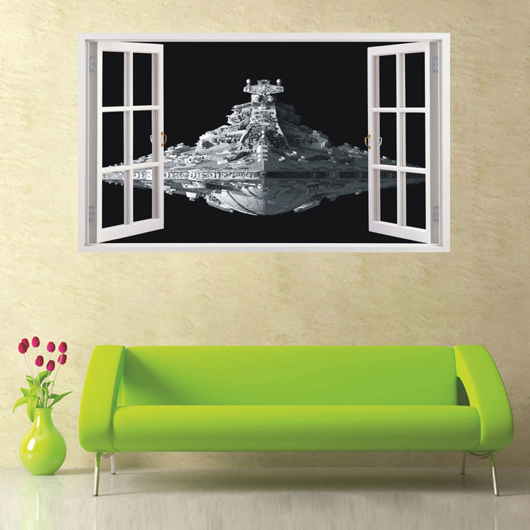 Brand 2017 Star Wars Wall Stickers 3d Star Destroyer Waterproof Wall