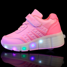 New 2016 Junior Jazzy Heelys Girls/Boys LED Light Shoes, Children Roller Skate Shoes Kids Sneakers With Single Wheels