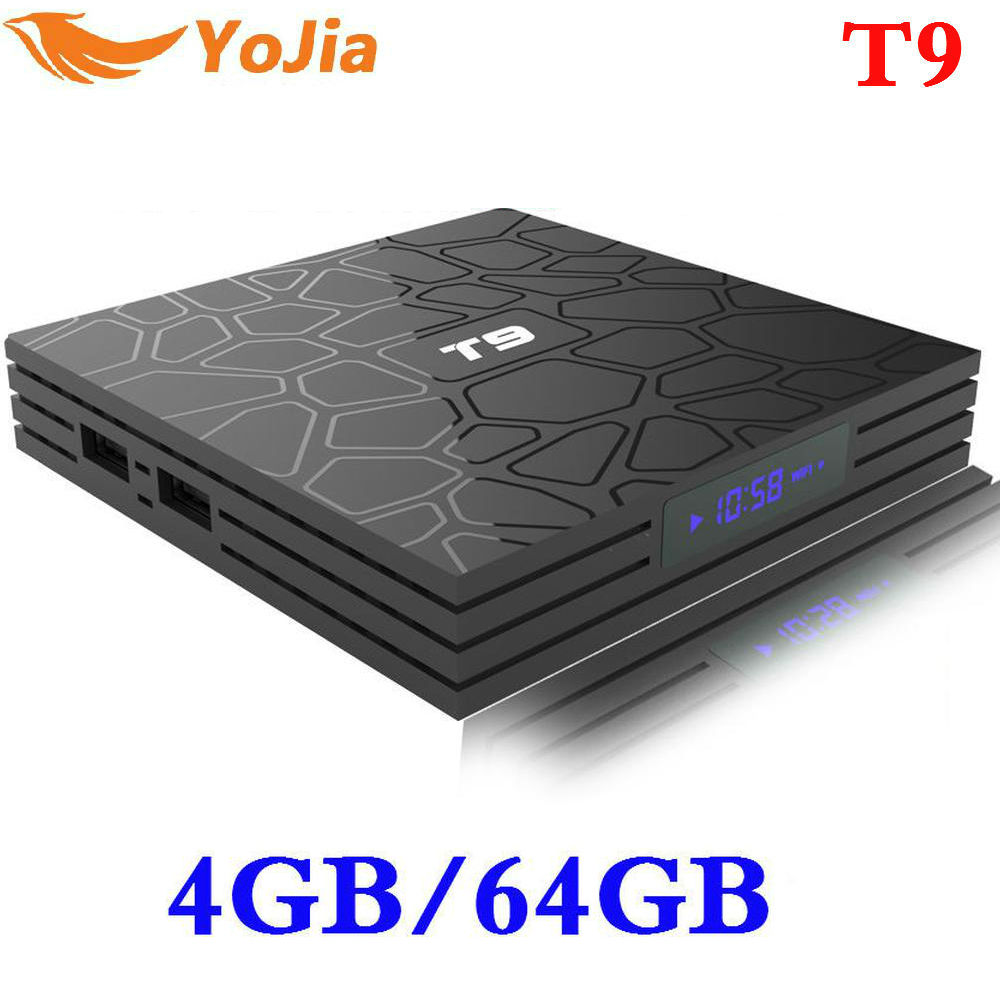 Nuevo 4 GB 64 GB Android 8,1 caja de TV T9 RK3328 Quad Core 4G/32G USB 3,0 smart 4 K Set Top caja opcional 2,4G/5G Dual WIFI Bluetooth