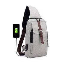 5PCS / LOT Chest Bag for Men Fashion USB Charging Messnage Outdoor Traveling Single Shoulder Sling Pack