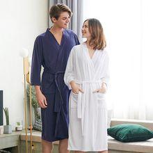 2e37c9f2ff4d0 Amoureux De Luxe Doux Kimono peignoir Femmes Hommes Gaufre Solide Nuit  Printemps Peignoir robes demoiselles de
