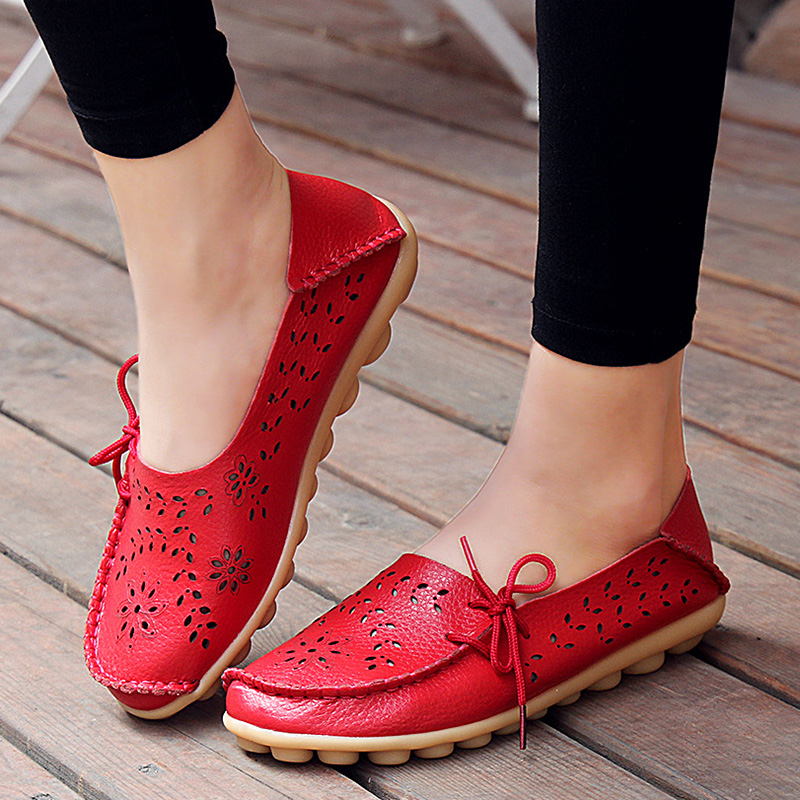 Fashion women flats shoes slip on loafers women casual shoes wholesale leather flat shoe female zapatos