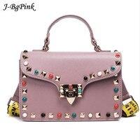 NEW Female Fashion Color Rivet Leather Bags Women S Messenger Ladies Shoulder Bag Women Crossbody