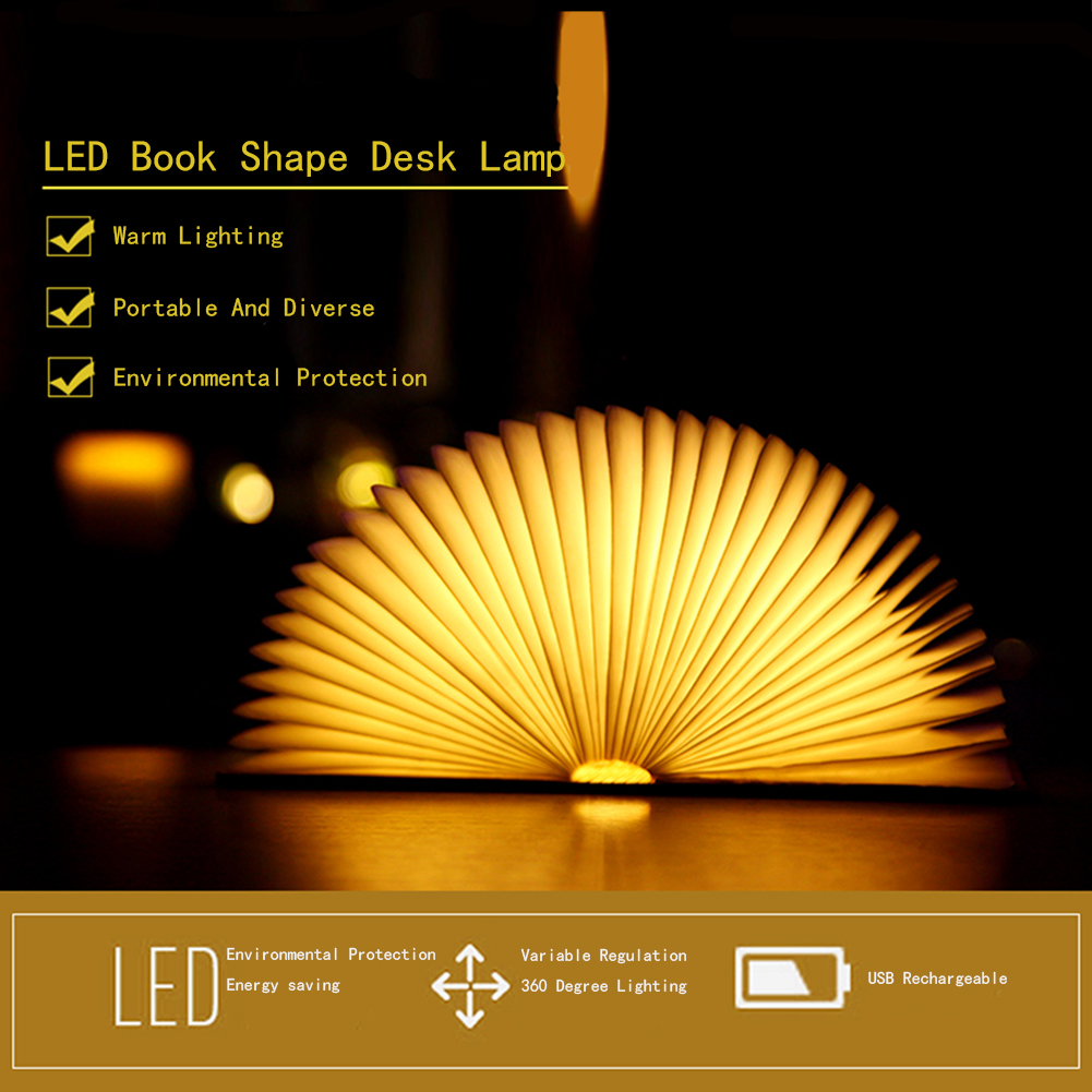 USB Rechargeable LED Foldable Wooden Book Shape Desk Lamp Night Light Book Light Bedside Table Decorating Night Lamp Wall Light