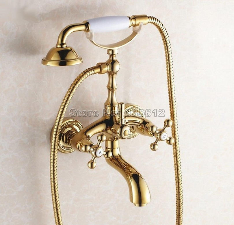 Gold Color Brass Bathroom Wall Mounted Dual Cross Handles Bathtub Mixer Tap with Handheld Shower Head Faucets Wtf082